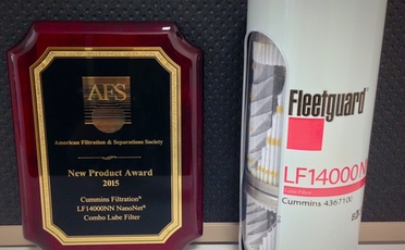 Cummins Filtration Wins AFS 2015 New Product of the Year Award